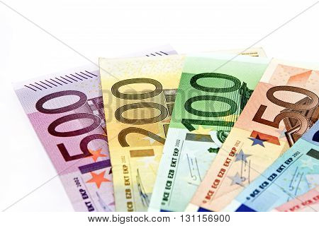 Different Euro Bills Are Spread Out On A Table In The Form Of A Fan.