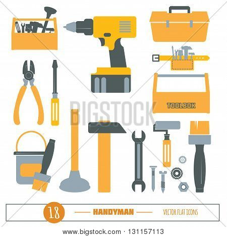 Handyman Tools Vector Icon Set. Amenities repair, house hold equipment fixing icons. Vector graphics for working tools, plumbing, fixing, renovation equipment. Sample text. Editable