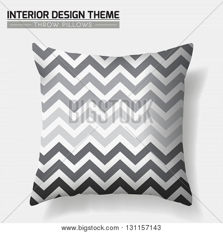 Decorative Geometric Throw Pillow design template. Original Zigzag pattern in shades of grey is complete masked. Modern interior design element. Creative Sofa Toss Pillow. Vector design is layered editable