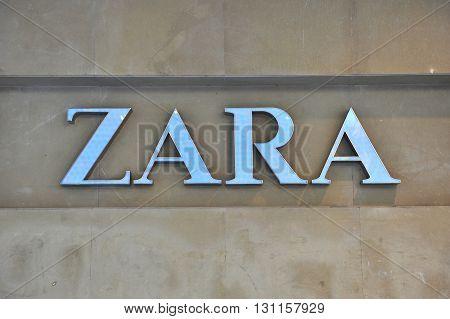 BELGRADE SERBIA - APRIL 30: Logotype of Zara flagship store in Belgrade on April 30 2016. Zara is a Spanish world famous clothing retailer.