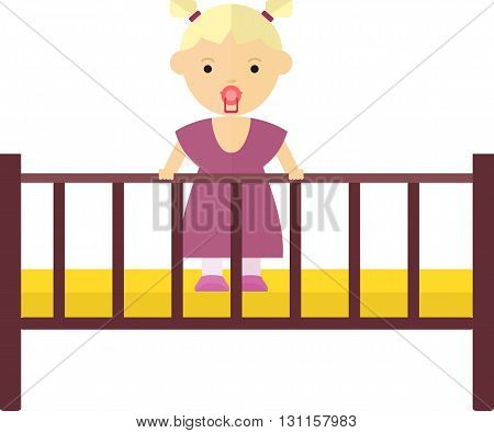 Little girl playing in the playpen. Satisfied baby with a pacifier. Objects isolated on a white background. Flat vector illustration.