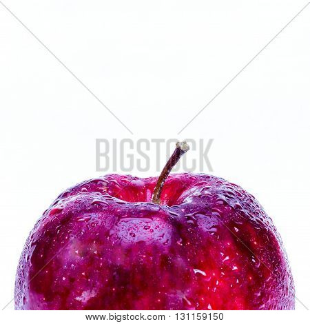 red apple with waterdrop isolated on white background