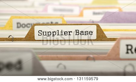 Folder in Colored Catalog Marked as Supplier Base Closeup View. Selective Focus. 3D Render.