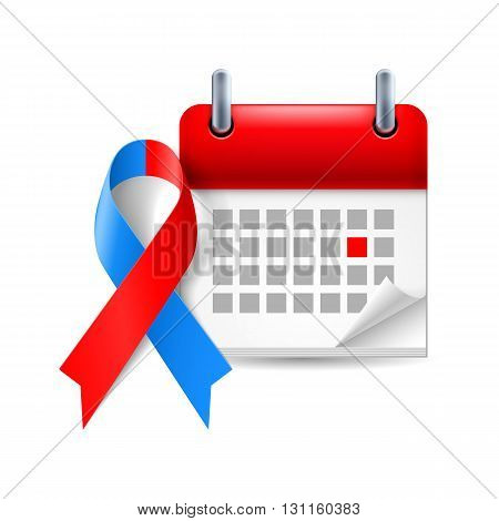 Red and blue awareness ribbon and calendar with marked day. Noonan syndrome Congenital Heart Defect symbol