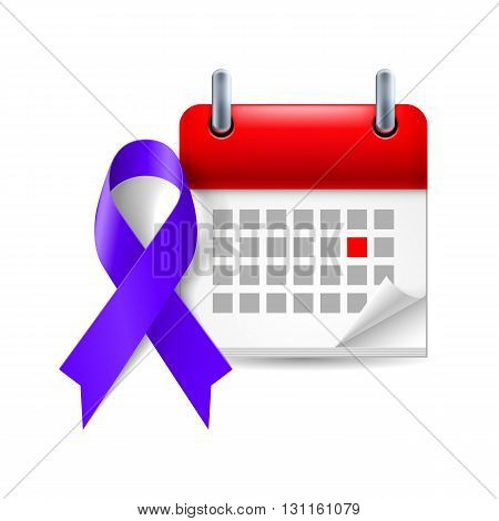 Indigo awareness ribbon and calendar with marked day. Targeted individuals such as bullying harassment stalking symbol