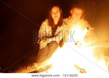 Night bonfire.