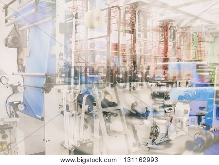 double exposure industry abstract backround (polyethylene production)
