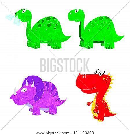 dino set icon 4 vector texture dinosaur