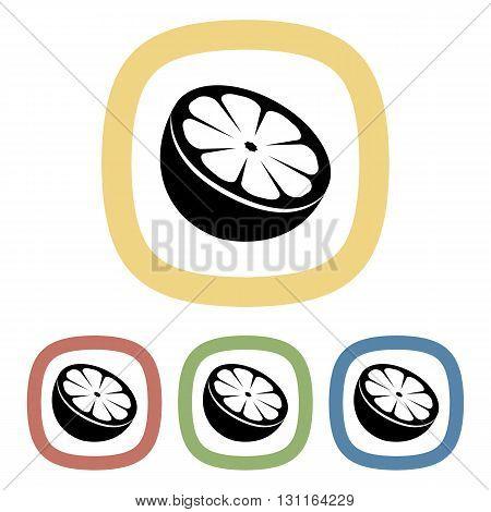 Black icon of orange. Set of black icons
