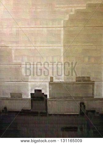 Artsy Abstract Gray Buildings on Cinder Blocks