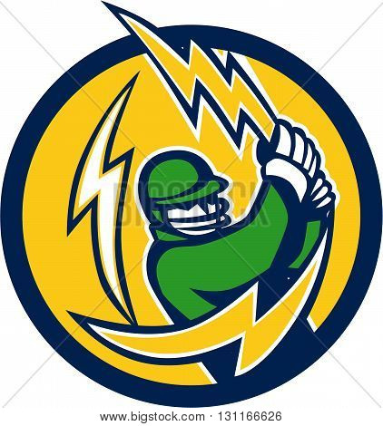 Illustration of a cricket player batsman with lightning bolt bat batting viewed from front set inside circle on isolated background done in retro style.