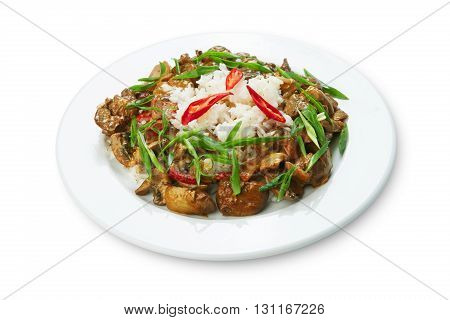 Tasty chicken liver stewed with mushrooms served with white rice. Restaurant food. Offal Food top view isolated at white background. Restaurant meal, healthy dish.