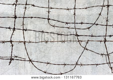 Concrete wall with barbed wire Phnom Penh Cambodia