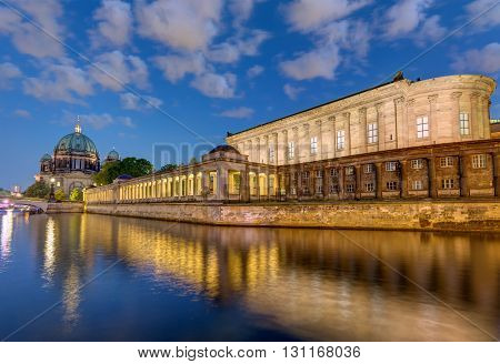 The river Spree, the cathedral and the Museum Island in Berlin at night
