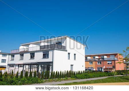 Modern family houses in a new neighbourhood seen in Berlin, Germany