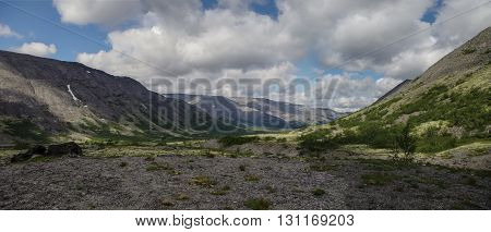 Mountain tundra with mosses and rocks covered with lichens Hibiny mountains above the Arctic circle Kola peninsula Russia