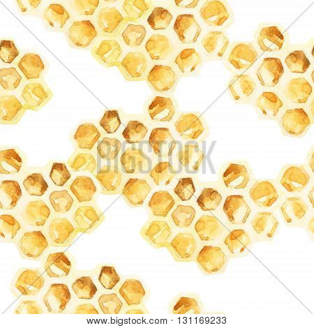 Watercolor honeycombs seamless pattern. Honey background for your design in retro style. Hand painted illustration