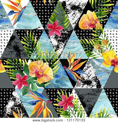 triangle seamless pattern with grunge textures and watercolor elements. Abstract geometrical and tropical background. Exotic flowers and leaves. Marble triangles. Hand painted geometric abstract texture