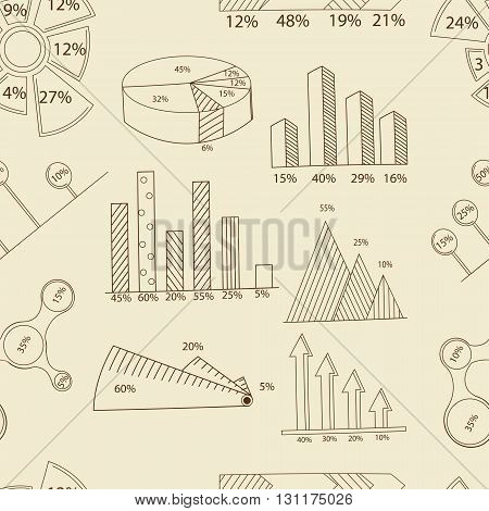 Big set of infographics elements. EPS10. Vector chart report template made from lines and icons. Seamless retro