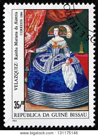 GUINEA-BISSAU - CIRCA 1984: a stamp printed in Guinea-Bissau shows Queen Maria of Austria Painting by Velazquez circa 1984