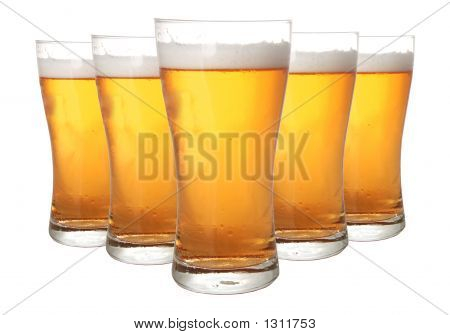 glasses of beer isolated on white background poster
