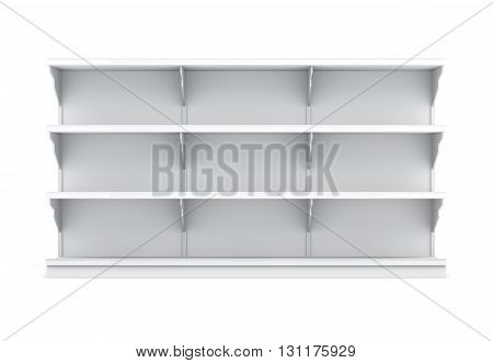 Front view rack with shelves for supermarket isolated on white background. Empty shelves. 3d rendering