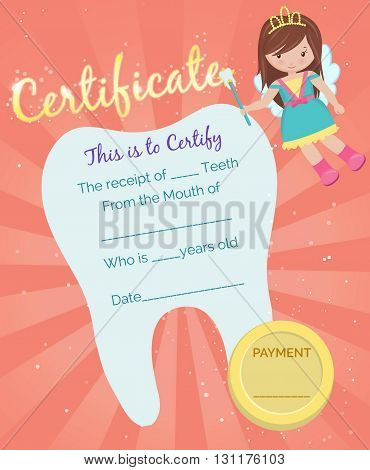 Cute tooth fairy receipt certificate template with sparkling tooth, tooth fairy girl and coin. Reward for children who loose their baby teeth. poster