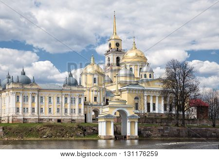 Nilo-Stolobensky monastery view from lake Seliger. Russia