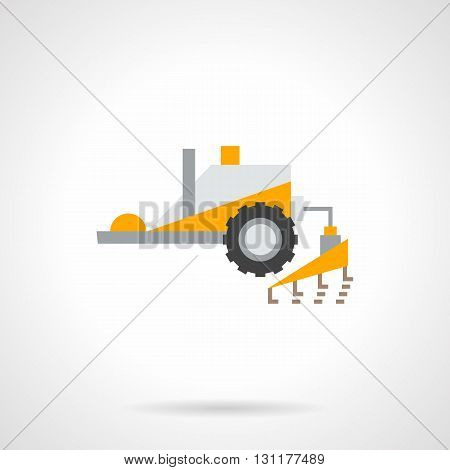 Yellow tractor with plowing equipment. agricultural vehicles and machines for tillage, soil preparation. Farming and agro theme. Flat color design vector icon.