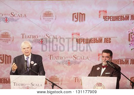 Moscow, Russia - May, 23, 2016: russian businessman Mikhail Kusnirovich and  director of the La Scala Aleksander Pereira on the press conference devoted to tours of the La Scala theater in Moscow.