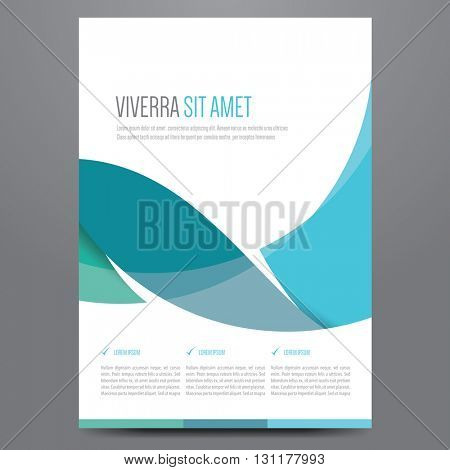 Flyer, brochure, poster, annual report, magazine cover vector template. Modern blue corporate flat design.
