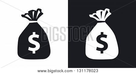 Vector money bag icon. Two-tone version on black and white background