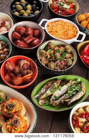 Spanish tapas, cold buffet food served in bars