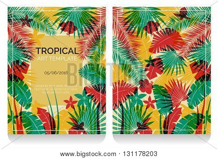 Tropical offset print effect jungle illustration with overlayed plants and flowers making anaglyph effect. Replace text to customize template.