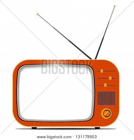 Single old retro TV set with dials sliding switches antenna and blank screen with copy space