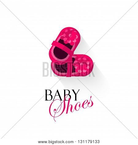 Baby shoes vector illustration isolated on white background pink shoes for small girls kids shoes cartoon flat logo design banner poster or card cover