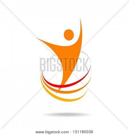 Logo template. Success logo design. Energy symbol. Winner logo template. Human abstract.