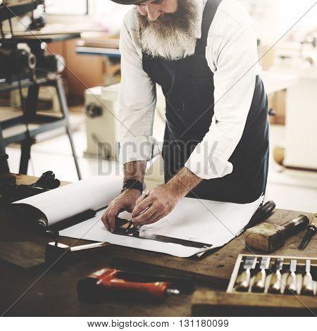 Carpenter Craftsmanship Carpentry Handicraft Wooden Workshop Concept