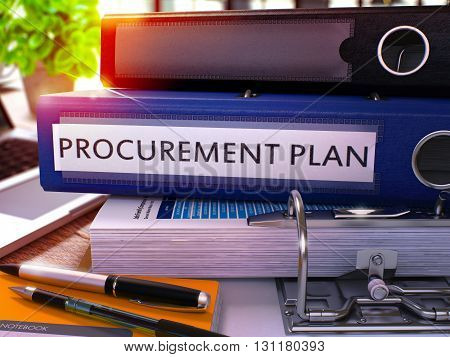 Blue Office Folder with Inscription Procurement Plan on Office Desktop with Office Supplies and Modern Laptop. Procurement Plan Business Concept on Blurred Background. 3D Render.
