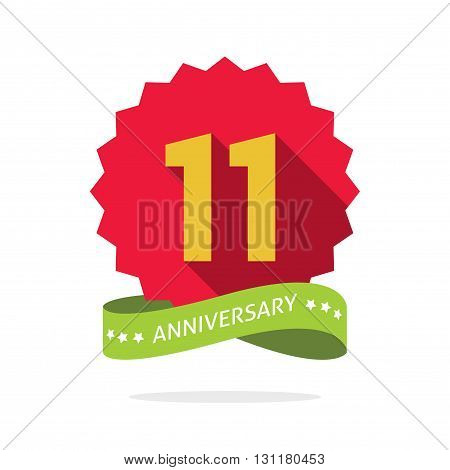 11th anniversary badge with shadow on red starburst and yellow number 11 eleven.11 years anniversary icon eleventh years symbol ribbon vector emblem isolated on white