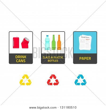 Stickers for recycling trash bins vector illustration isolated on white background recycle labels for waste bin can types recycling plastic glass bottles recycling metal cans paper info stickers