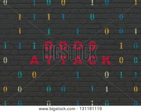 Security concept: Painted red text DDOS Attack on Black Brick wall background with Binary Code