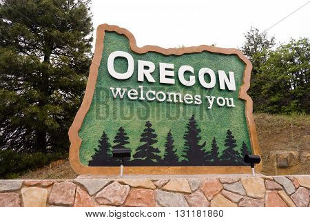 Oregon State Welcome Sign Interstate 5 Northbound Transportation