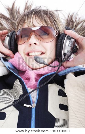 Portrait of a styled professional model. Theme: TEENS, MUSIC, SHOPPING