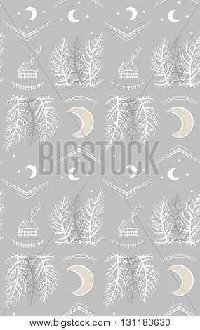 Night forest with county lodge and moon. Vector pattern illustration.