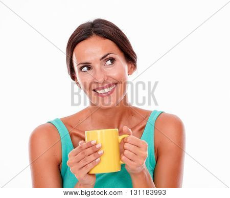 Laughing Brunette Woman With Coffee Mug