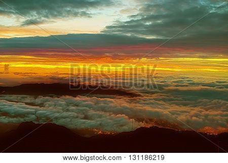 Sunrise From Volcano Baru In Panama.