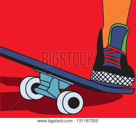 The legs on skateboard. Feet shod in sneakers. Pop art style. Vector illustration