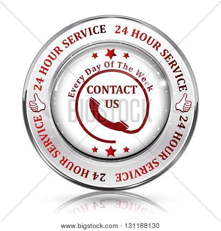 Full Time Support Service. 24/7 hour service. Contact us - shiny button, icon,  label and sign.