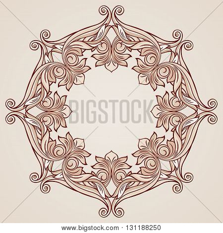 Ornate florid pattern in pastel rose pink shades